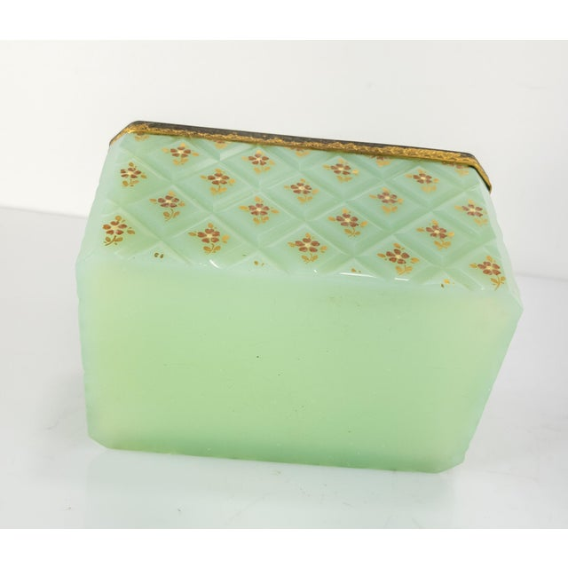 French Bronze Mounted Celadon Green Opaline Trinket Box For Sale - Image 9 of 10