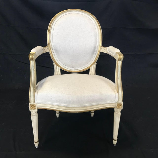 Wood Antique Painted Louis XVI Gustavian Style Dining Chairs -Set of 6 For Sale - Image 7 of 13