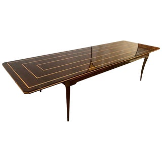 Tommi Parzinger Mid-Century Modern Mahogany Charak Modern Two Leaf Dining Table For Sale