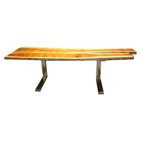 Long Cherry Wood Console - Image 1 of 5