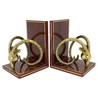 Brass Ibex Bookends For Sale