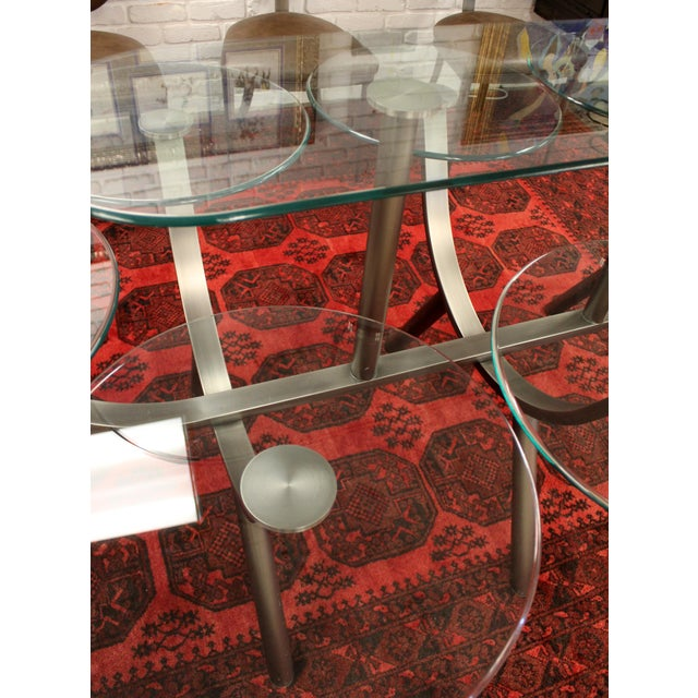 1980s Contemporary Modern Dia Circle of Life Dining Set Table Chairs 1980s Glass Steel - Set of 9 For Sale - Image 5 of 12