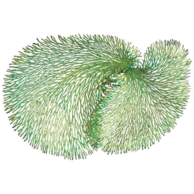 Green and Gold Iron Coral Wall Sculpture by Fabio Ltd. For Sale In Palm Springs - Image 6 of 6