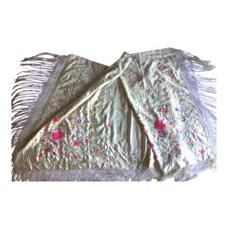 1890s Gump's Cantonese Embroidered Olive Green Silk Throw For Sale