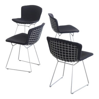 Mid Century Modern Harry Bertoia for Knoll Upholstered Side Chairs - Set of 4 For Sale