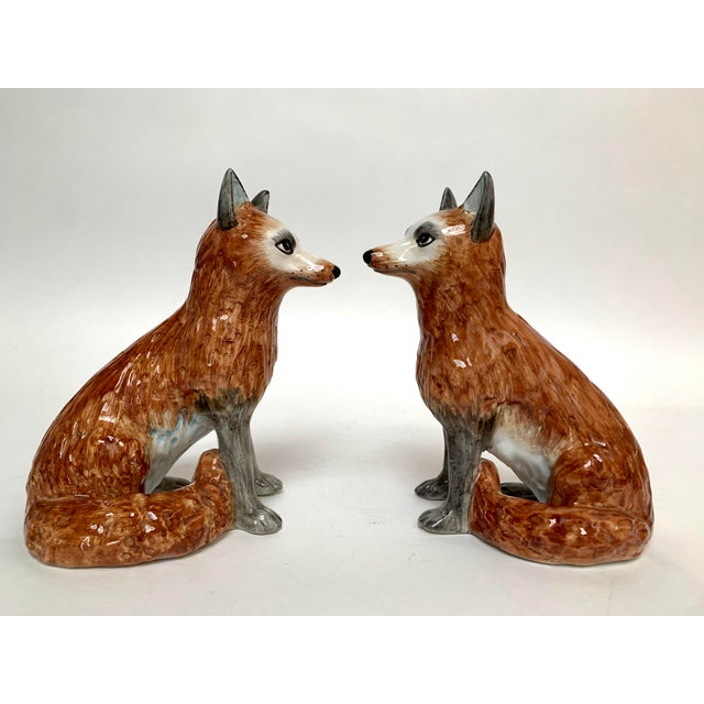 Italian Ceramic Fox Bookends – a Pair For Sale In New York - Image 6 of 12
