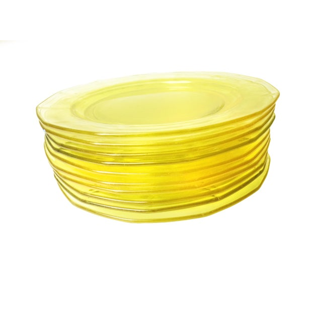 Vintage Mid-Century Glassware Yellow Plates - Set of 10 - Image 3 of 4