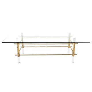 1960s Mid-Century Modern Karl Springer Brass and Lucite Dining Table For Sale