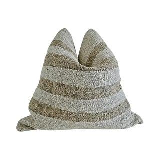 Boho Chic Fragments Identity Berber Tribal Kilim Wool Pillow - 24ʺW × 24ʺH For Sale