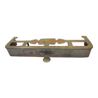 Antique English Brass Top Fireplace Fender For Sale