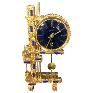 Bronze Gold-Plated Clock With Blue Stones For Sale