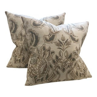 Neutral Floral Pillows - A Pair For Sale