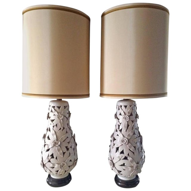 Monumental Glazed Terra Cotta Floral Lamps - A Pair For Sale