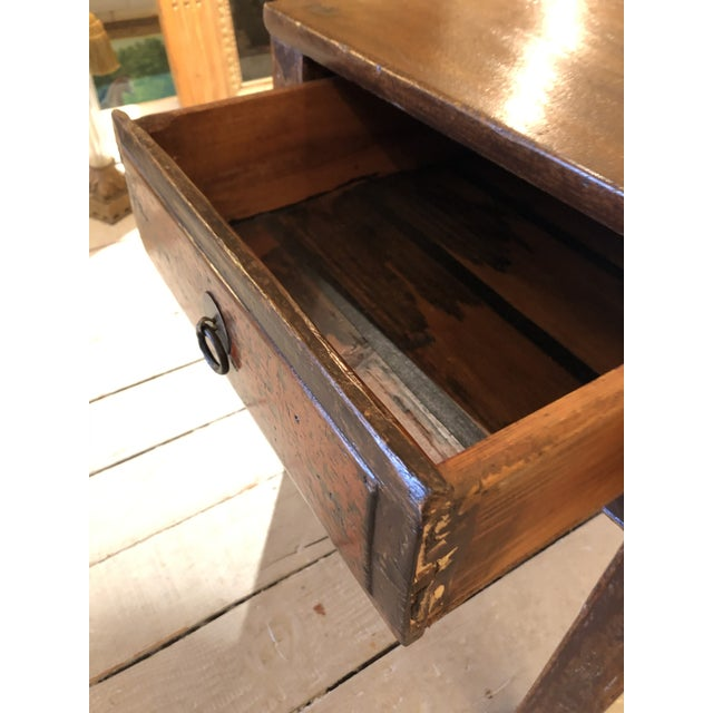 Antique Chinese Rustic Wood End Table With Single Drawer For Sale - Image 9 of 12