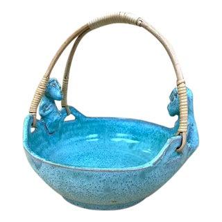 Rattan Handled Turquoise Monkeys Bowl For Sale