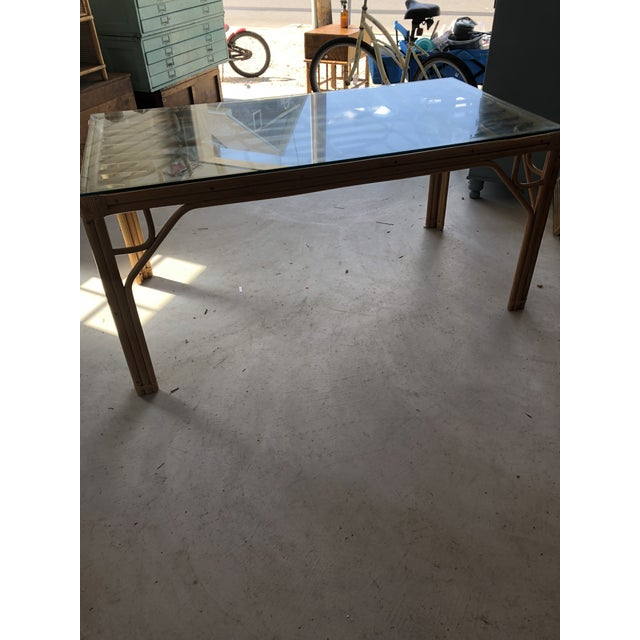 1970s Vintage Bamboo & Glass Top Dining Table For Sale - Image 5 of 11