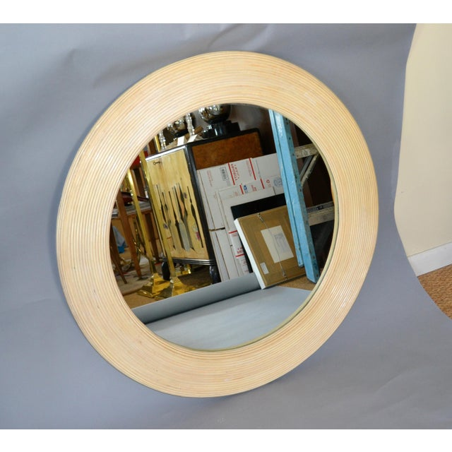 Mid-Century Modern Round Handmade White Washed Pencil Reed Wall Mirror For Sale - Image 13 of 13