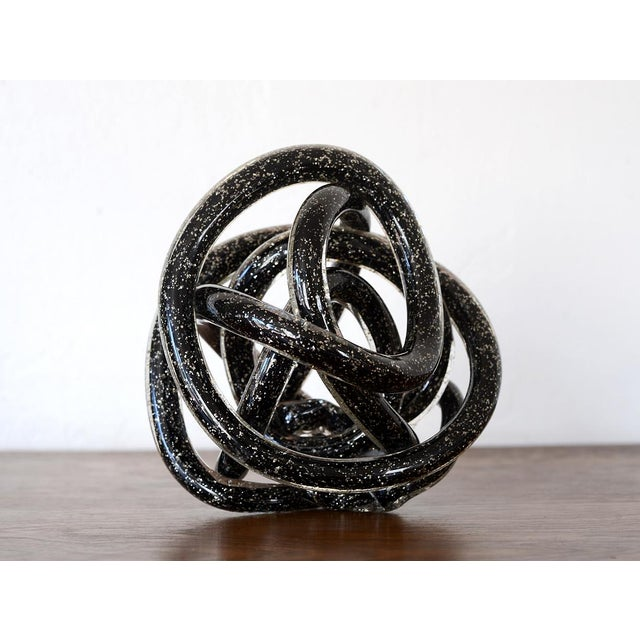 Vintage Black Murano Abstract Twisting Blown Glass Tube Sculpture For Sale - Image 10 of 10