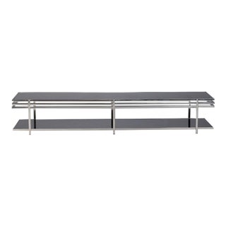 Mid Century Long and Low Black Glass and Chrome Coffee Table For Sale