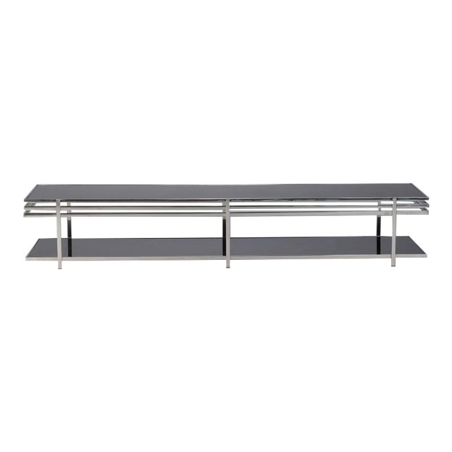 Mid Century Long And Low Black Glass Chrome Coffee Table Image 1 Of 7