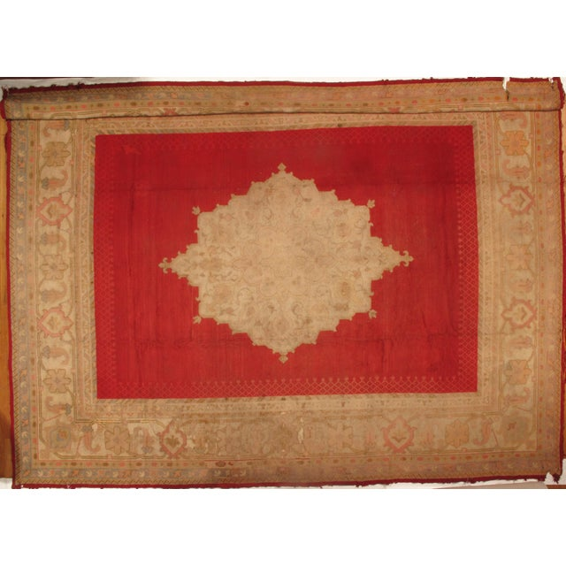 Antique Turkish OUSHAK rug. Handmade Hand-knotted. Rustic Condition Lamb's wool on a wool foundation. Circa 1880