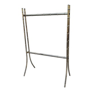 Vintage Hollywood Regency Gold Faux Bamboo Metal Bathroom Stand For Sale