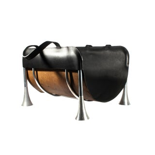 """Umbra Italian """"Madera"""" Aluminum Fireplace Log Holder and Leather Carrier For Sale"""