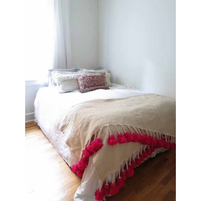 Moroccan Pink Braided Pom Pom Wool Blanket - Image 4 of 4