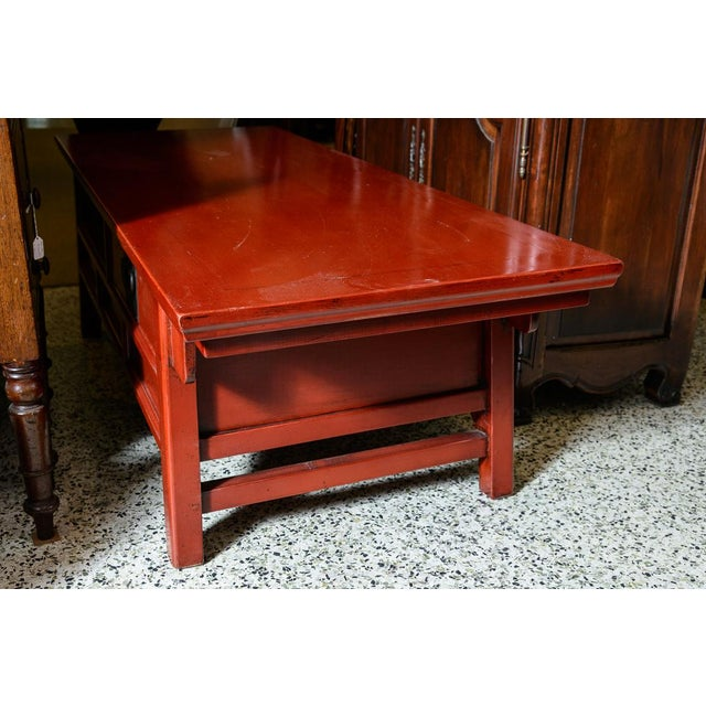 Asian Asian Red Wooden Coffee Table For Sale - Image 3 of 10