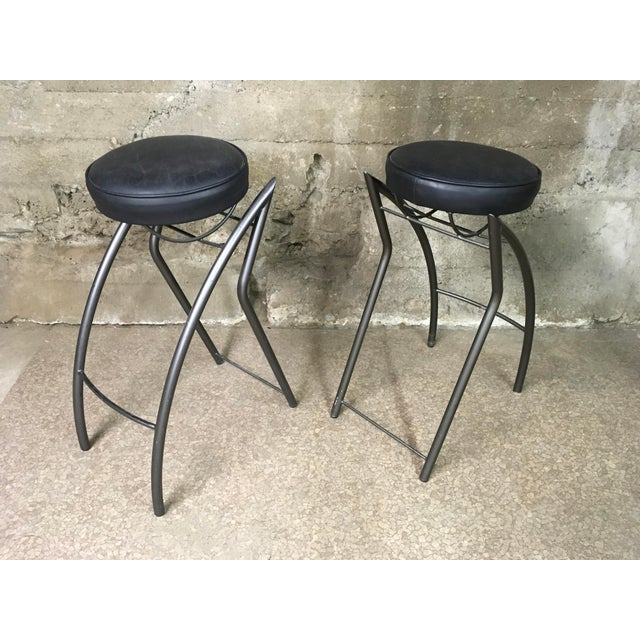 Post Modern Sculptural Bar Stools- Set of 4 For Sale In Los Angeles - Image 6 of 12