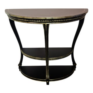 Late 20th Century Chelsea House Black & Gold Demi-Lune Table For Sale
