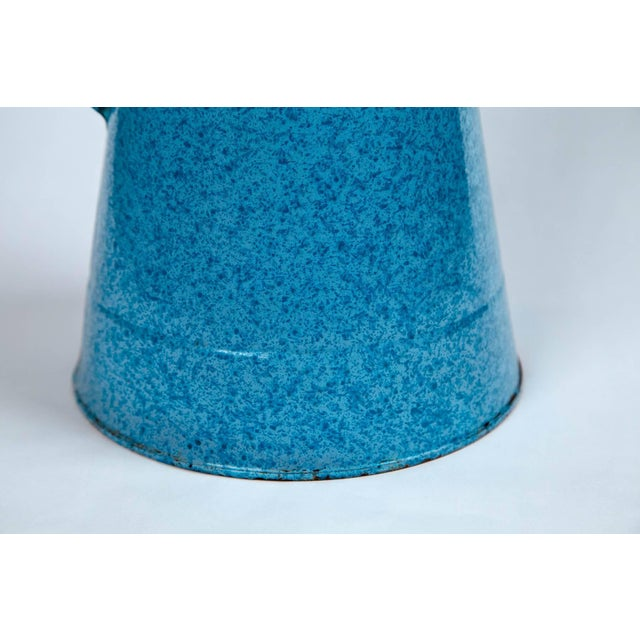 Vintage French enamelware pitcher, circa 1920. Wonderful blue spatter finish. Extra large size.