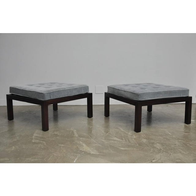 Pair of large-scale square ottomans by Edward Wormley for Dunbar. Fully restored. Refinished in Dunbar espresso finish...