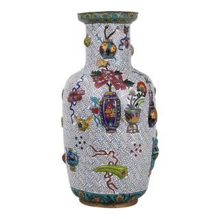 19 Century Cloisonne Raise Work Vase For Sale