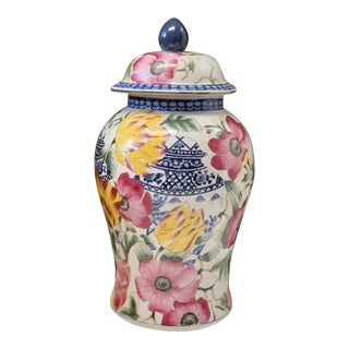 Chinoiserie Floral Ginger Jar With Blue and White Accents For Sale