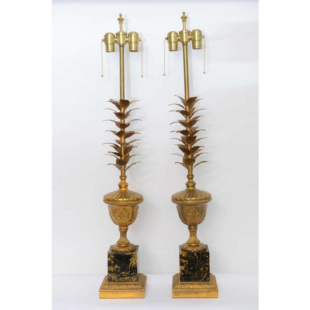 Brass Pair of 1950s Modern Neoclassical Style Gilt and Faux Marble Table Lamps For Sale - Image 7 of 8