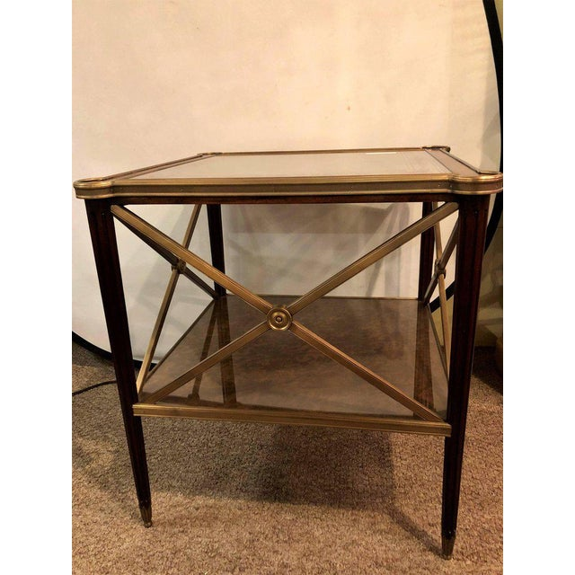 Hollywood Regency Bronze Decorated End Table X-Base Sides Tortoise Glass Top - Image 2 of 11