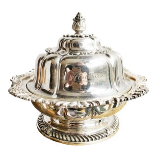 Late 19th Century Antique Tiffany & Co Silver Butter Dish For Sale