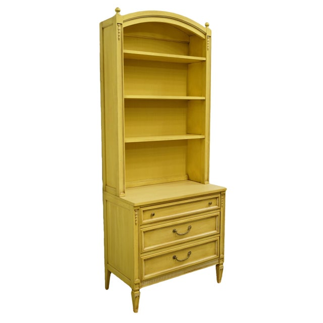 French 20th Century French Provincial Basic-Witz Cream / Yellow Painted 3-Drawer Chest With Bookcase For Sale - Image 3 of 12