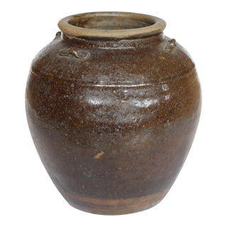 19th c. South East Asia Brown Glazed Pottery Storage Jar, c. 1800s For Sale