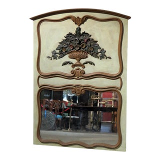 Italian Distressed Painted Trumeau Wall Mirror For Sale