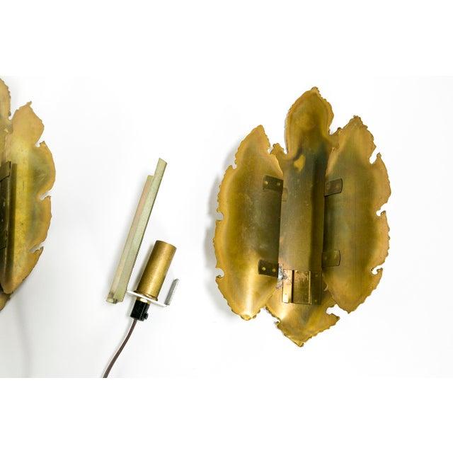 Gold Brutalist Brass Flame Leaf Sconces - a Pair For Sale - Image 8 of 11