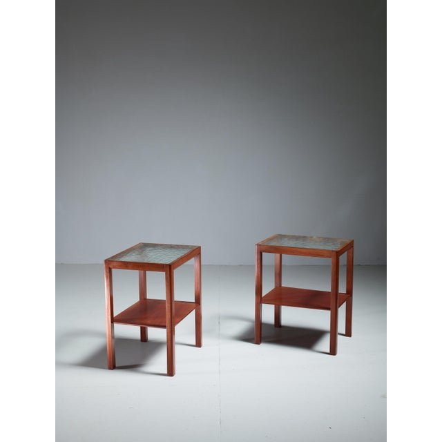 Thorald Madsen Pair of Mahogany Side Tables with Glass Top, Denmark, 1930s - Image 2 of 5