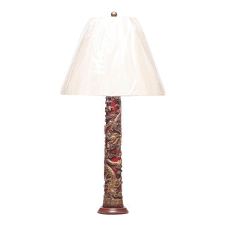 Antique Chinese Temple Carved Candlestick Table Lamp For Sale