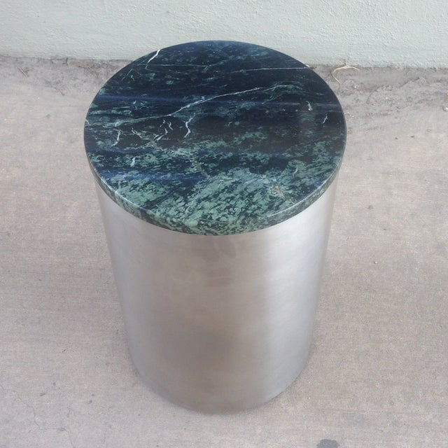 Paul Mayen Cylindric and Green Marble End Table - Image 2 of 6