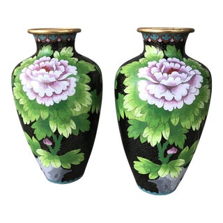 Jingfa Cloisonne Chrysanthemum Vases - A Pair For Sale