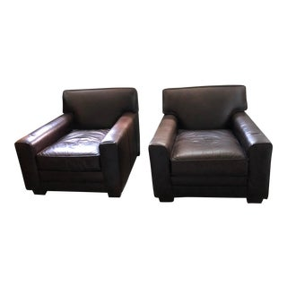 Pair of Chocolate Brown Leather Club Chairs From Pottery Barn-Mitchel Gold/Bob Williams For Sale