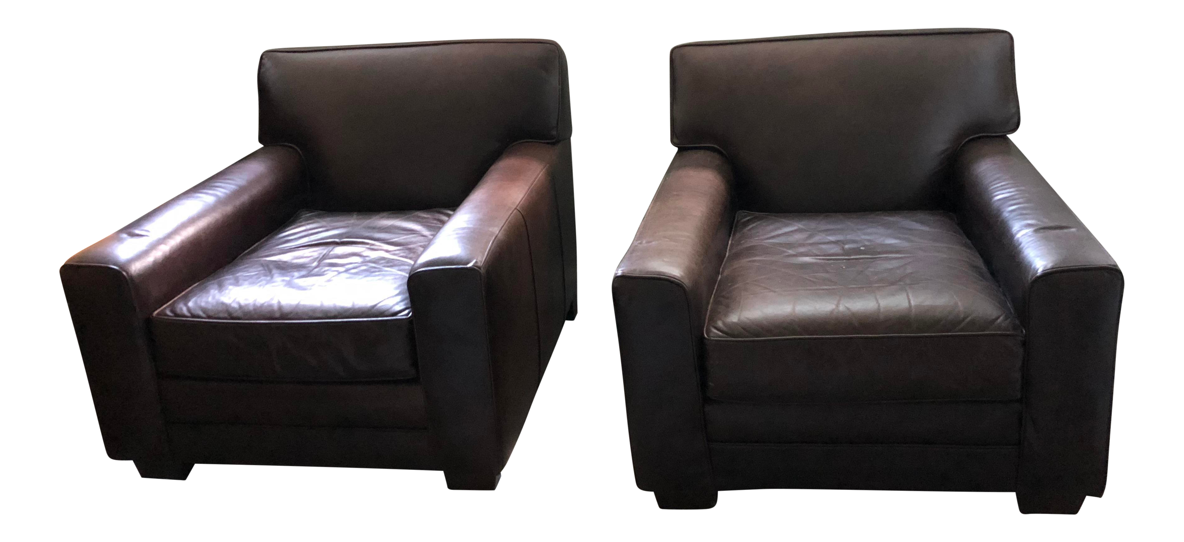 Pair Of Chocolate Brown Leather Club Chairs From Pottery Barn Mitchel  Gold/Bob Williams