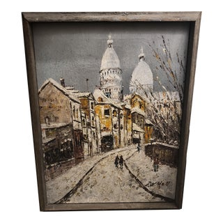 Oil on Canvas of Paris Scene For Sale