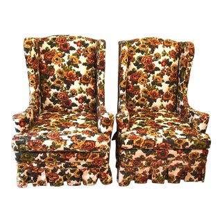 1960s Vintage Floral Wingback Chairs - a Pair For Sale